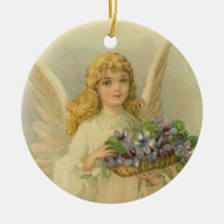 Angel With Purple Flower Basket Christmas Ornament