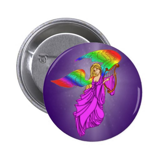 Angel with Rainbow Wings 2 Inch Round Button