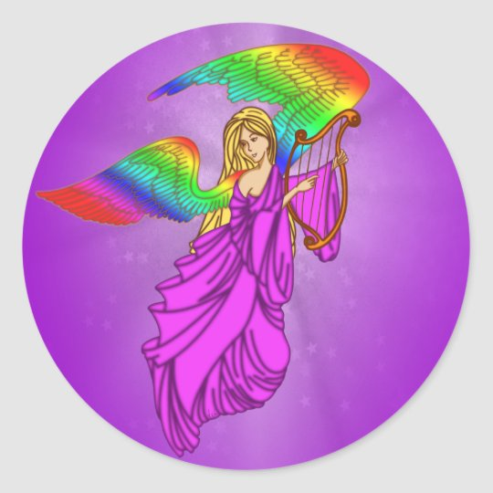Angel with Rainbow Wings Classic Round Sticker