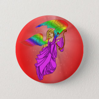 Angel with Rainbow Wings Pinback Button