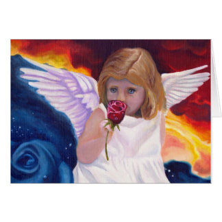 Angel with Rose Blank Note Cards