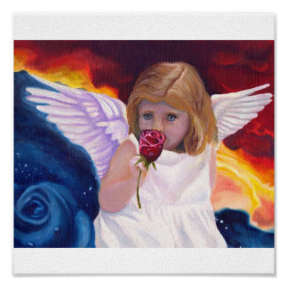 Angel with Rose Canvas Print