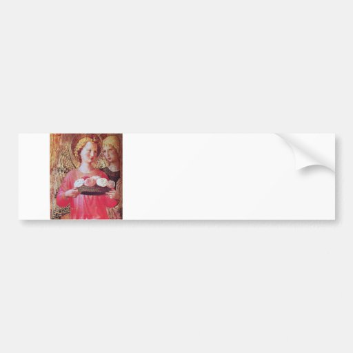 ANGEL WITH ROSES CAR BUMPER STICKER