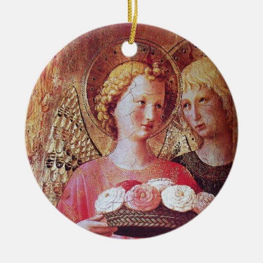 ANGEL WITH ROSES CERAMIC ORNAMENT