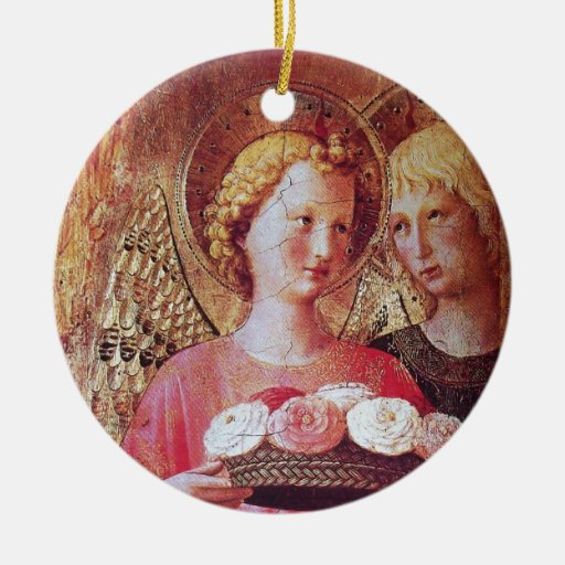 ANGEL WITH ROSES CHRISTMAS TREE ORNAMENTS
