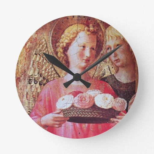ANGEL WITH ROSES CLOCK