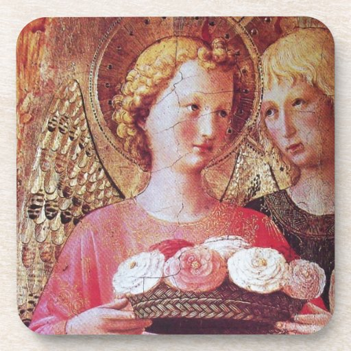 ANGEL WITH ROSES DRINK COASTERS