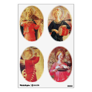 ANGEL WITH ROSES / MUSICAL ANGELS IN RED AND GOLD WALL DECAL