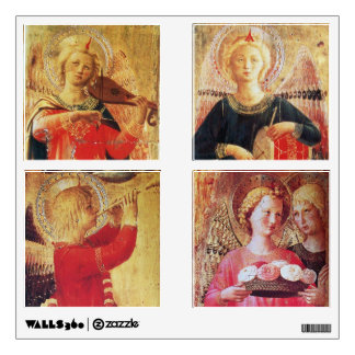 ANGEL WITH ROSES / MUSICAL ANGELS IN RED AND GOLD WALL STICKER