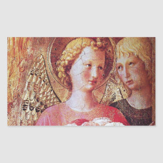 ANGEL WITH ROSES RECTANGULAR STICKER