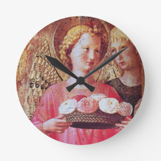 ANGEL WITH ROSES ROUND CLOCK