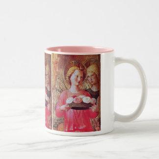 ANGEL WITH ROSES Two-Tone COFFEE MUG
