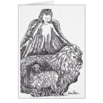 Angel with Sheep and Lion Card