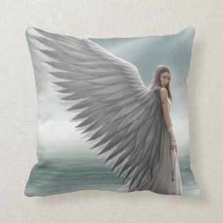Angel with spread wings throw pillow
