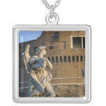 Angel with Superscription in front of the Castel Square Pendant Necklace