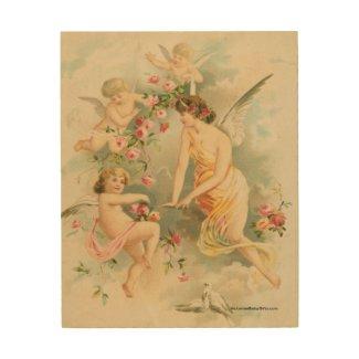 Angel with Three Cherubs Wood Wall Art
