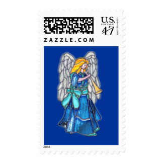 Angel with Trumpet Stained Glass Postage Stamp
