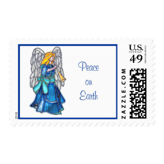 Angel with Trumpet Stained Glass Stamp