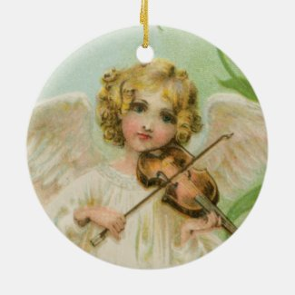 Angel With Violin Vintage Style Holiday Ornament