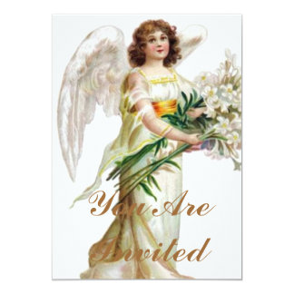 Angel With White Lilies 13 Cm X 18 Cm Invitation Card