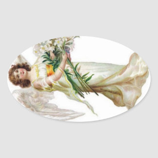 Angel With White Lilies Oval Sticker