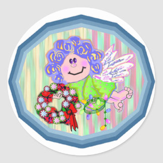 Angel with Wreath Round Stickers