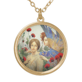 Angel, woman and flowers necklace