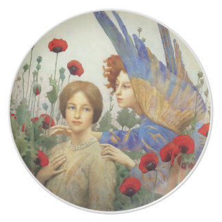 Angel, woman and flowers plate