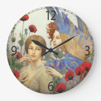 Angel, woman and flowers wall clock