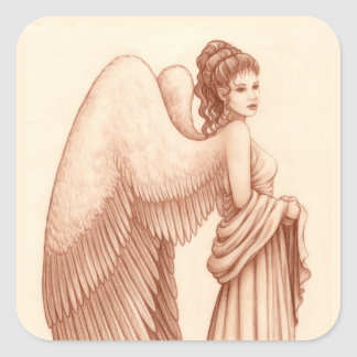 Angel Woman Square Sticker