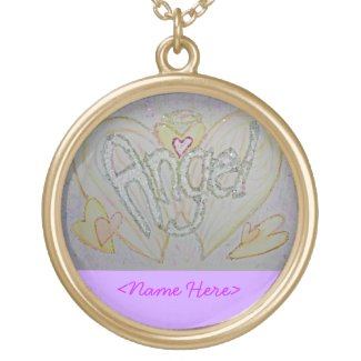 Angel Word Art Custom Necklace Pendant Charm