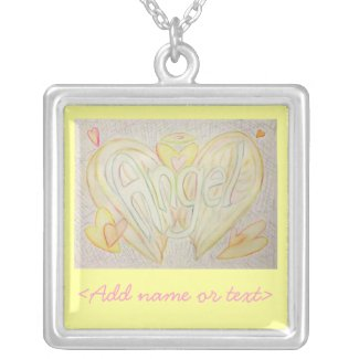 Angel Word Art Painting Silver Necklace Charm