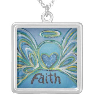 Angel Word Faith Silver Plated Necklace