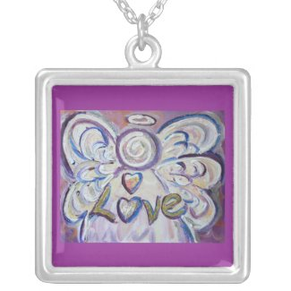 Angel Word Love Silver Plated Necklace