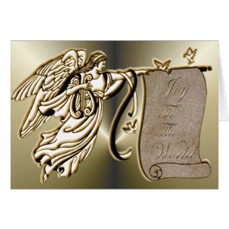 Ángel y alegría a la voluta del mundo tarjeta de felicitación