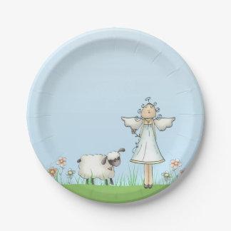 Ángel y cordero, azul del chica, religioso plato de papel de 7 pulgadas