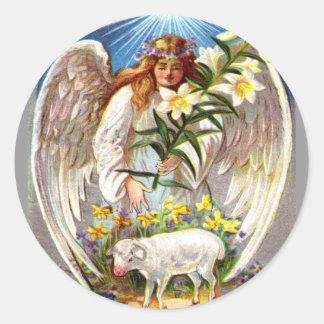 Ángel y cordero de Pascua del vintage Pegatina Redonda