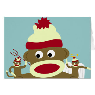 Ángel y diablo del mono del calcetín tarjeta de felicitación