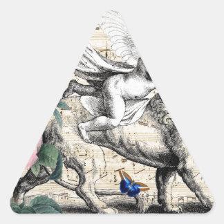Ángel y el león pegatina triangular