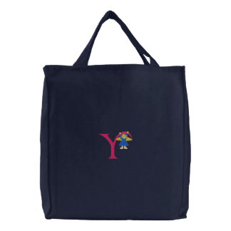 Angel Y Embroidered Tote Bag
