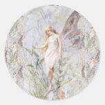 Ángel y flores de guarda pegatinas redondas