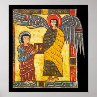 Ángel y manuscrito iluminado de Juan Apocolypse 2 Poster