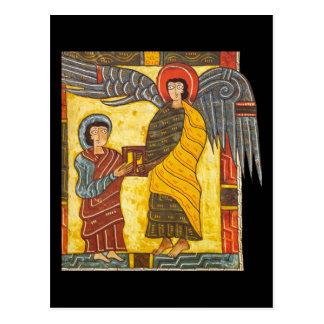 Ángel y manuscrito iluminado de Juan Apocolypse 2 Tarjeta Postal
