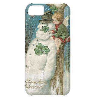 Ángel y muñeco de nieve del navidad funda para iPhone 5C