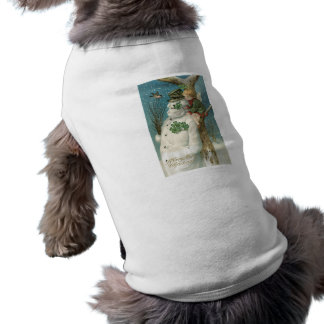 Ángel y muñeco de nieve del navidad camisetas mascota