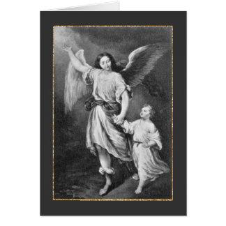 Ángel y niño de guarda tarjeta de felicitación