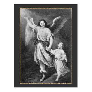 Ángel y niño de guarda tarjeta postal