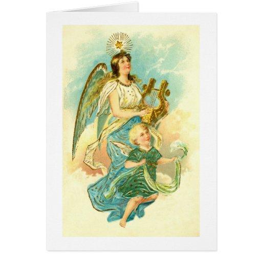 Ángel y niño tarjeta de felicitación