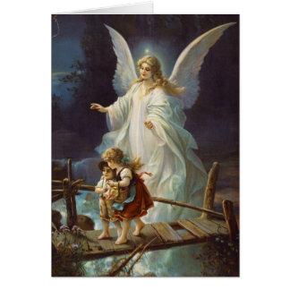 Ángel y niños de guarda del vintage tarjeta de felicitación