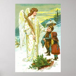 Ángel y niños en el navidad posters